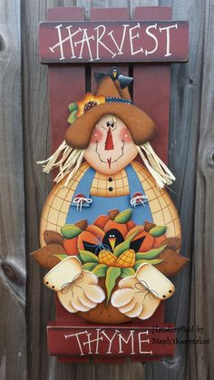 Handpainted Harvest Thyme ,Wooden Scarecrow ,Wall Hanging, Fall, Autumn, Home decor, Holidays,  Fall, Thanksgiving, Greeting, Fall, Harvest