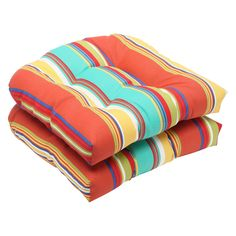 Pillow Perfect Outdoor Westport Spring Wicker Seat Cushion (Set of 2) (575377),, Outdoor Cushion