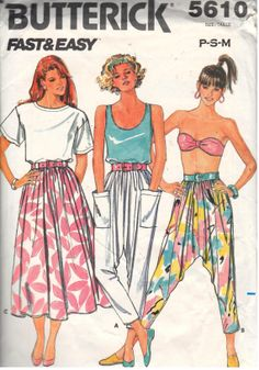 Butterick 5610, Size P S M, Vintage 1980s Misses Harem Pants and Skirt Pattern, cut on size M.