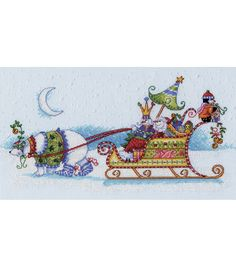 "Snow Bear And Sleigh Counted Cross Stitch Kit-14""x8"" 14 count, , hi-res"