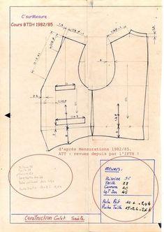 construction lignes de base, tracé du gilet Tailleur.                                                                                                                                                                                 Plus