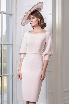 A stunning shift dress in Blush and Powder Blue.The dress has a rounded neckline and semi long balloon sleeves. Formal Dresses With Sleeves, Work Dresses For Women, Elegant Dresses, Nice Dresses, Beautiful Dresses For Women, Classy Dress, Classy Outfits, Mother Of Bride Outfits, Dress Outfits