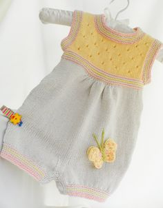 Knitted baby romper, cotton baby jumpsuit, beige and yellow baby romper, summer… Knitted Baby Outfits, Knit Baby Dress, Knitted Romper, Crochet Baby Clothes, Baby Cardigan, Knitting For Kids, Crochet For Kids, Baby Knitting Patterns, Baby Patterns