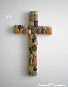 RIVER ROCK Wall Cross - Hand painted wood cross in beige w/ river pebble rocks- x or x - cruces madera Vbs Crafts, Church Crafts, Camping Crafts, Easter Crafts, Crafts For Kids, Wooden Crosses, Wall Crosses, Stone Crafts, Wood Crafts