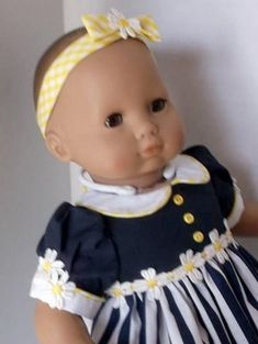 Blue and White Dress with Yellow accents matching headband Toddler Dolls, Baby Dolls, Bitty Baby Clothes, Cute Dolls, Pretty Dolls, Blue And White Dress, Yellow Accents, Gingham Check, American Girl