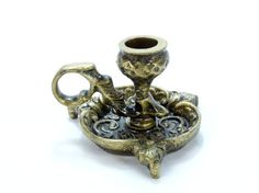 French brass candle holder Ornate brass by VintageLittleGems