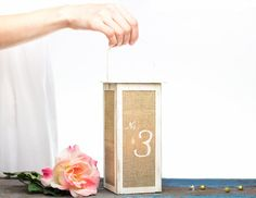 Metal White Candle Lantern Centerpiece with Golden Distress - Wedding Table Number Alternative - Home Decor #etsymntt #gifts