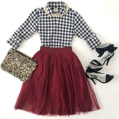 Burgundy tulle skirt, petite gingham shirt, Zara sequin clutch, navy bow sandals, faux pearl necklace, holiday outfit - click the photo for outfit details!