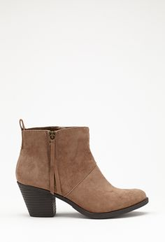 Zippered Faux Suede Booties : been looking everywhere for this...