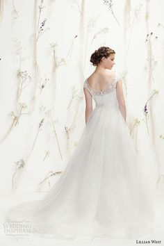 Lillian West Spring 2016 Wedding Dresses | Wedding Inspirasi | Ultra Dreamy & Romantic Bridal Gown With Pretty, Lace Bodice Sheer Neckline, Full Tulle Skirt Featuring Chapel Length Train^^^^