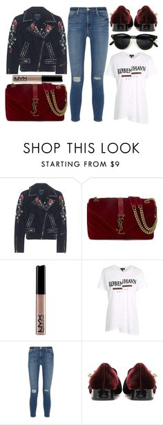 """street style"" by sisaez ❤ liked on Polyvore featuring True Religion, Yves Saint Laurent, Topshop, Frame Denim and Miu Miu"