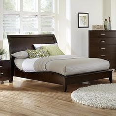 Tribecca Home Lancashire Cherry Finish Curved Sleigh Bed