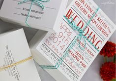 More retro letterpress style invites.