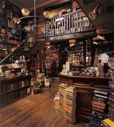 Flourish and Blotts Bookseller, North Side, Diagon Alley, established in 1454. Known for having the esteemed customer, Harry Potter.