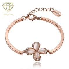 Factory Price Fashion Cute Flower Romantic Rose Gold Color Bangle Bracelet Jewelry for Wedding/Party