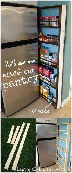 Hidden Fridge Gap Slide-Out Pantry.