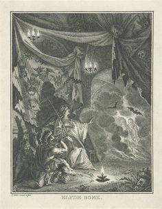 Simon Fokke | Saul bij de heks van Endor, Simon Fokke, 1766 | Saul bezoekt met twee dienaren de heks van Endor om de geest van de overleden Samuël te kunnen raadplegen. Links zitten Saul en zijn dienaren ineengedoken, op de achtergrond is de geest van Samuël verschenen. De duistere ruimte is gevuld met duivelse figuren en schedels Deze prent maakt deel uit van een serie over het verhaal van David en Saul.