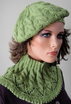 Merino 5 Chevron & Cable Slouchy Hat & Collar - Crystal Palace Yarns
