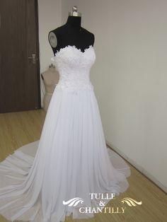 strapless wedding dress made with chiffon | / Custom Bridal Wedding Dresses 2013 /Strapless Lace Bodice Chiffon ...