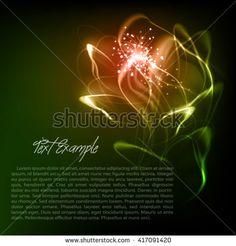 Shining ardent flower. Abstract vector dark green background a shine flower