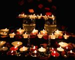 Nighttime walkway with candles rose petals romantic for Table 52 valentine s day