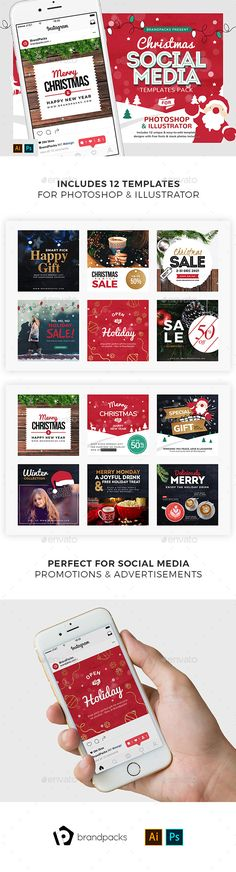 #Christmas Social Media Templates - Miscellaneous #Social Media