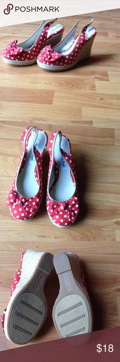 Adorable Polka Dot Espadrille Wedges Brand New; These adorable shoes have been in my possession for years and I have totally forgotten about them until now! I hope you take them home and style them to perfection! Red with White Polka Dots and that Bow is the Cherry on Top! American Eagle by Payless Shoes Wedges