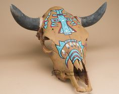 Genuine steer skull wall hanging with hand painted artwork. This is a unique one-of-a-kind piece. The rustic character of a steer skull has become an icon for western decorating and well as southwest Deer Skull Art, Cow Skull Decor, Deer Skulls, Painted Animal Skulls, Buffalo Skull, Cow Head, Skull Painting, Bull Skulls, Native Art