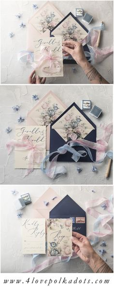 The most romantic ideas for wedding invitations. Elegant calligraphy design with floral printing and hand-dyed silk ribbon. Personalized with your colors and wording #wedding #elegant