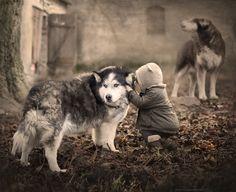 ...You know all my secrets.. (Poland) by Elena Shumilova - Photo 141869037 - 500px. #dog #child #wolf