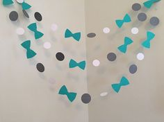 Teal And Gray Little Man Baby Shower Decorations Bow Tie Baby Shower Bowtie  Garland Itu0027s A