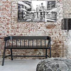 TEAK INDOOR WOODEN BENCH SEAT in Black
