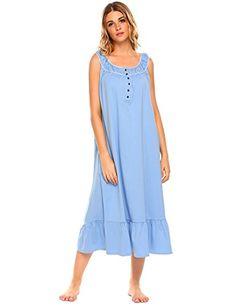 7de0e7e81 Women s Sleeveless Nightgown Cotton Sleepwear Pretty Babydoll Pajamas  Ruffle Sleep Dress