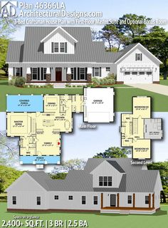 Architectural Designs Farmhouse Plan offers 3 bedrooms, bathrooms and a … - Haus Design Bedroom House Plans, Dream House Plans, House Floor Plans, My Dream Home, Dream Homes, Built In Lockers, The Sims, Open Concept Floor Plans, Modern Farmhouse Plans