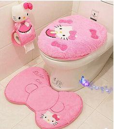 Kawaii Hello Kitty caliente suave piel alfombra de baño de asiento de inodoro tapa conjunto
