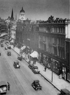 Lister Gate, 1930. Taken from Shipsides building, with the new Council House and St. Peter's Church in the background. The shops shown here are long gone.