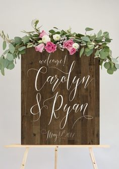 wood wedding sign -