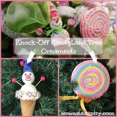 easy diy candyland themed tree ornaments, christmas decorations, crafts, seasonal holiday decor