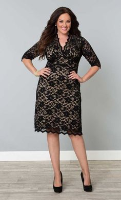 Scalloped Lace Cocktail Evening Dress, Black on Nude (Womens Plus Size) From the Plus Size Fashion Community at www.VintageandCurvy.com