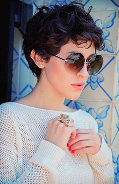 30 Best Pixie Hairstyles 2015 - 2016 Are you brave enough to go for the chop? Then, the pixie haircut is what you need. Pixie hair cuts are always personal short haircuts which increase your. Curly Pixie Hairstyles, Short Curly Pixie, Haircuts For Curly Hair, Short Pixie Haircuts, 2015 Hairstyles, Curly Hair Cuts, Short Hair Cuts, Curly Hair Styles, Pixie Wavy Hair