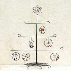 Vánoční stromeček :)  Kolečka z fotky jsou k zakoupení tady!  Pro ty, kterým už vyrostly děti a nechce se jim strojit běžný vánoční stromeček, nebo pro ty, kdo pořebují mít vánoční dekoraci ve více místnostech. Ideální na stůl, na komodu, na parapet. Drátěná konstrukce je ze silného drátu, se stojánkem, pevná a stabilní. Nahoře je hvězdička s červenými ...