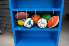 Build a DIY Sporting Goods Holder to Keep Your Garage Organized Deep Drawer Organization, Sports Organization, Garage Organization, Diy Projects Garage, Outdoor Projects, Garage Ideas, Old Bookcase, Colonial Style Homes, Elle Decor
