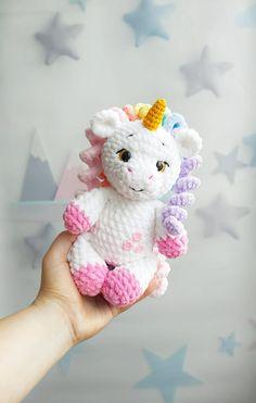 Crochet Unicorn Pattern, Plush Pattern, Crochet Toys Patterns, Amigurumi Patterns, Stuffed Toys Patterns, Knitting Patterns, Baby Unicorn, Amigurumi Toys, Crochet Basics