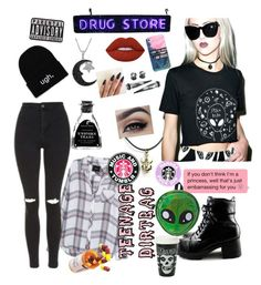 """""""PatheticSoul"""" by that-goth-cutie ❤ liked on Polyvore featuring Rails, Topshop, Lime Crime, Jewel Exclusive, Comeco and Casetify"""