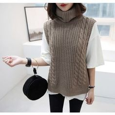 Buy Miamasvin Turtle-Neck Sleeveless Cable-Knit Top at YesStyle.com! Quality products at remarkable prices. FREE WORLDWIDE SHIPPING on orders over CA$ 45.
