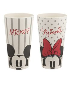Vandor 89005 Disney Mickey and Minnie Mouse 24 Ounce Bamboo Tumblers, 2 Piece Set, White/Red/Black Mickey Mouse E Amigos, Mickey E Minnie Mouse, Mickey Mouse And Friends, Disney Mickey, Disney Gift, Cozinha Do Mickey Mouse, Mickey Mouse Kitchen, Disney Dishes, Disney Cups