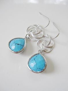 Silver Swirl Earrings with Light Blue Turquoise by gardendiva, $27.30