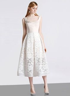 b65e01fae5 Open Back Cream White Lace Aline Midi Dress with Beige Top and Lining MD100