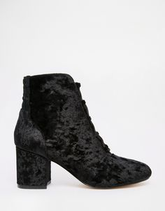 ASOS RETROSPECT Velvet Lace Up Ankle Boots