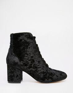 ASOS RETROSPECT Velvet Lace Up Ankle Boots